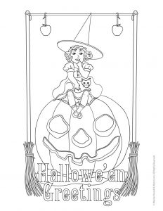 Witch on a Jack o' Lantern - Hallowe'en Greetings