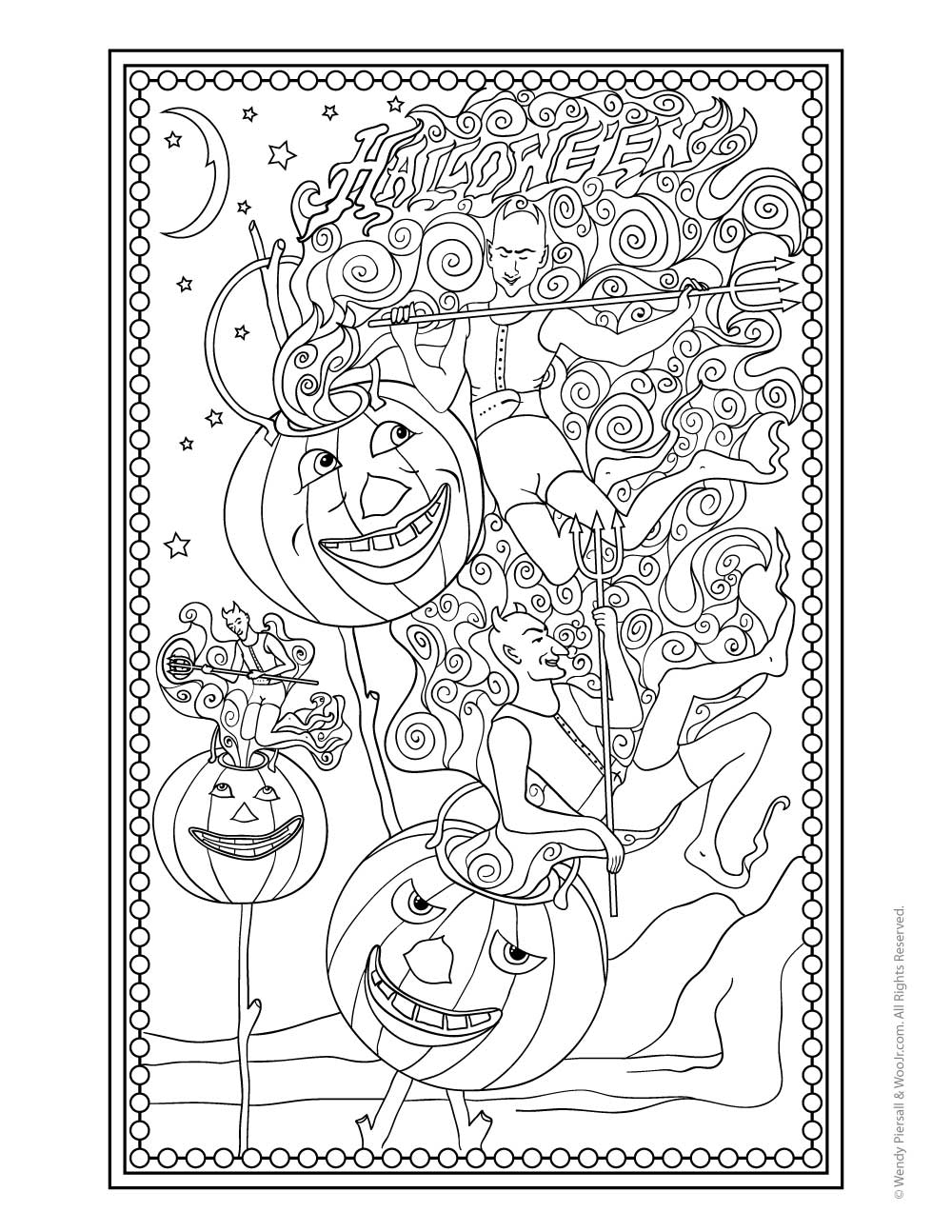Vintage Halloween Demons and Pumpkins