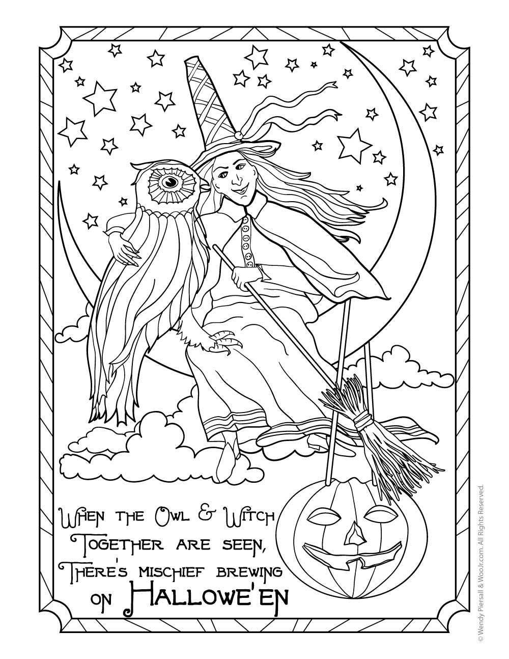 witch and owl vintage halloween postcard coloring page woo jr kids activities