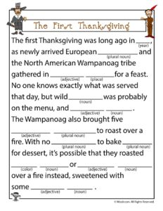 The First Thanksgiving Ad Lib Game