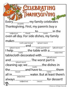 Celebrating Thanksgiving Ad Lib Worksheet