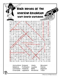 Black Heroes of the Revolutionary War Word Search Answer Key