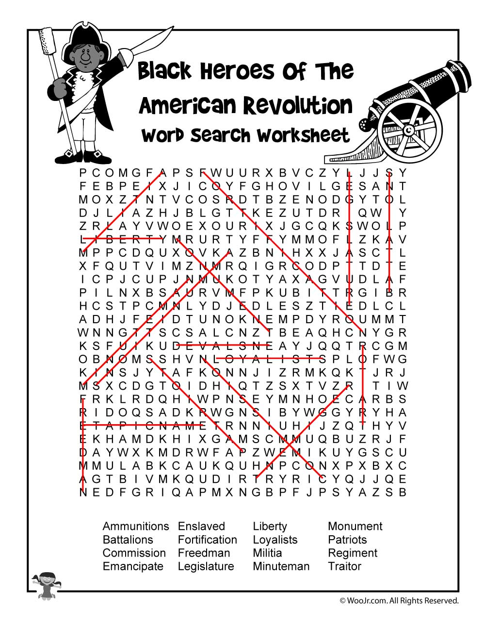 Worksheets Revolutionary War Worksheets black heroes of the revolutionary war word search answer key woo jr kids activities