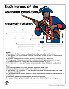 Black Heroes of the Revolutionary War Crossword Worksheet