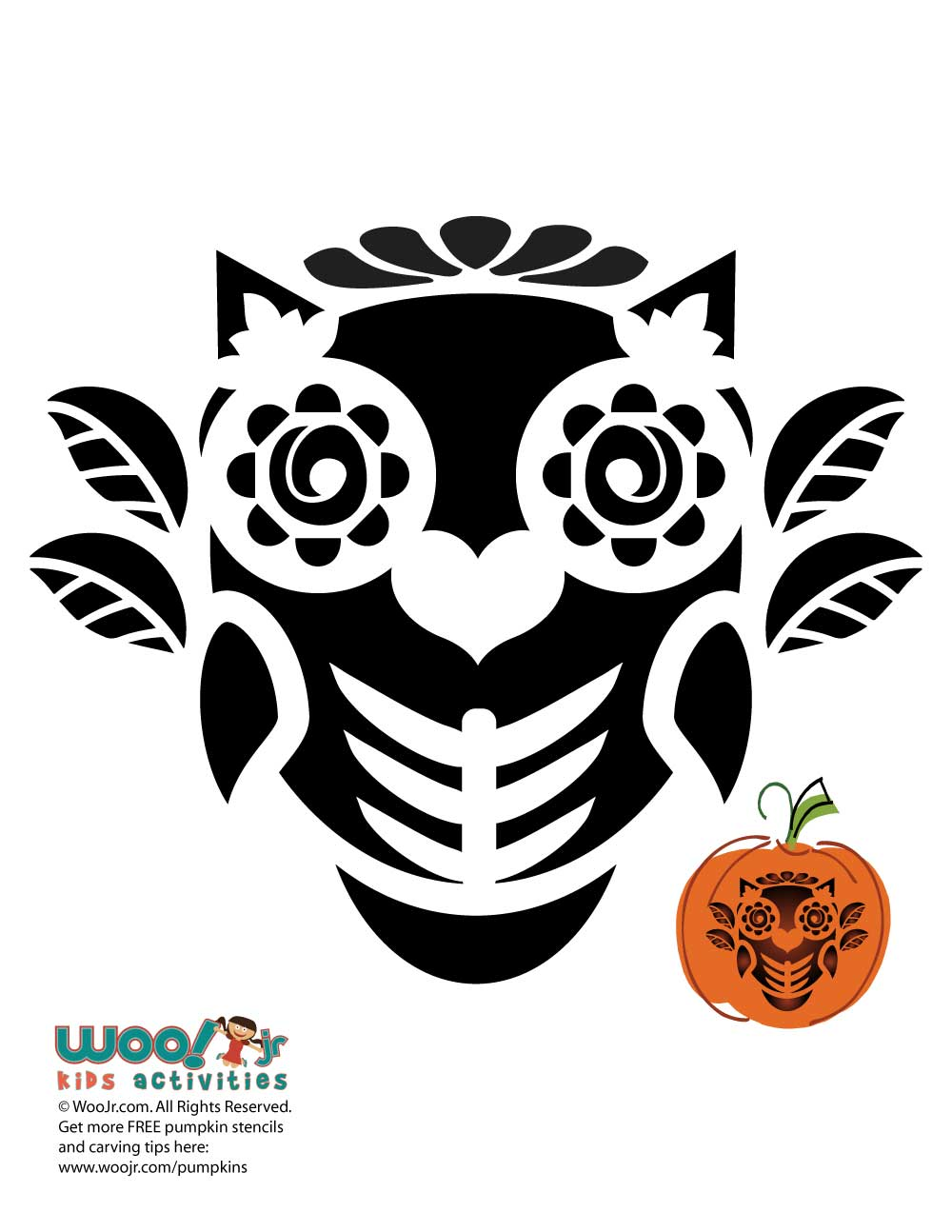Day of the dead owl pumpkin stencil woo jr kids activities sharethis copy and paste pronofoot35fo Choice Image