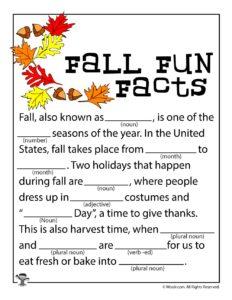 Fall Fun Facts Ad Lib