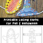 Printable Lacing Cards for Fall and Halloween
