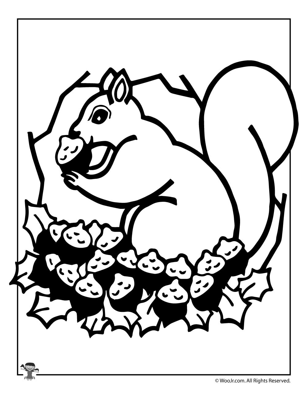 Fall Squirrel Coloring Page | Woo! Jr. Kids Activities