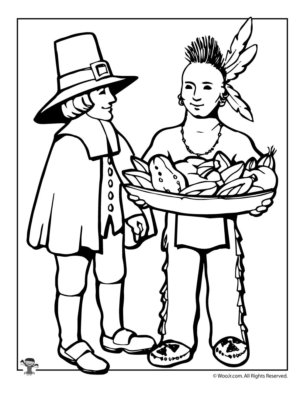 Pilgrim & Indian Coloring Page | Woo! Jr. Kids Activities