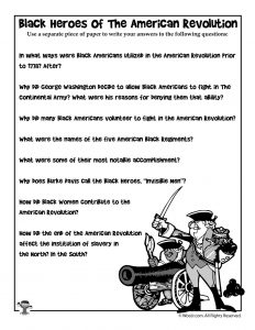 Black Heroes of the Revolutionary War Reading Comprehension Questions