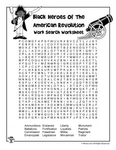 Black Heroes of the Revolutionary War Word Search Worksheet