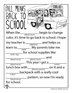 Fall Means Back to School Ad Lib Worksheet