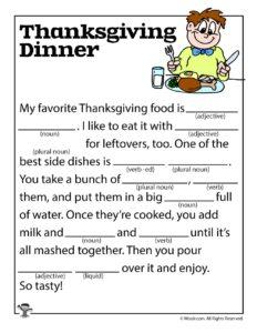 Thanksgiving Dinner Ad Lib Fill In Fun