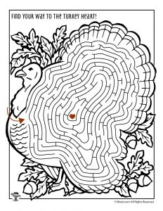 Turkey Maze Activity Page