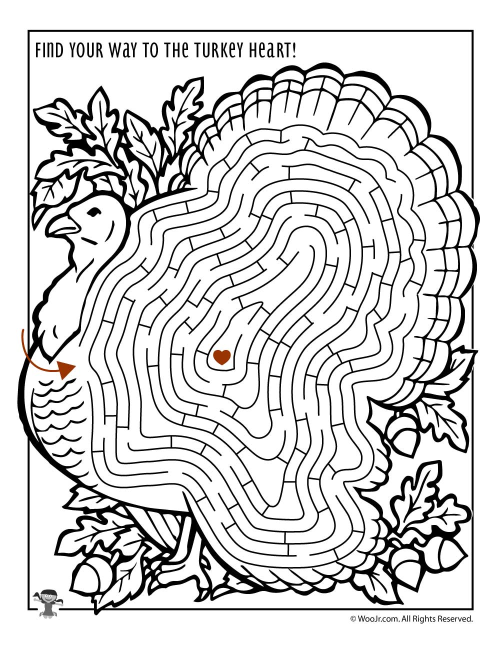 Turkey maze activity page woo jr kids activities for Activity coloring pages