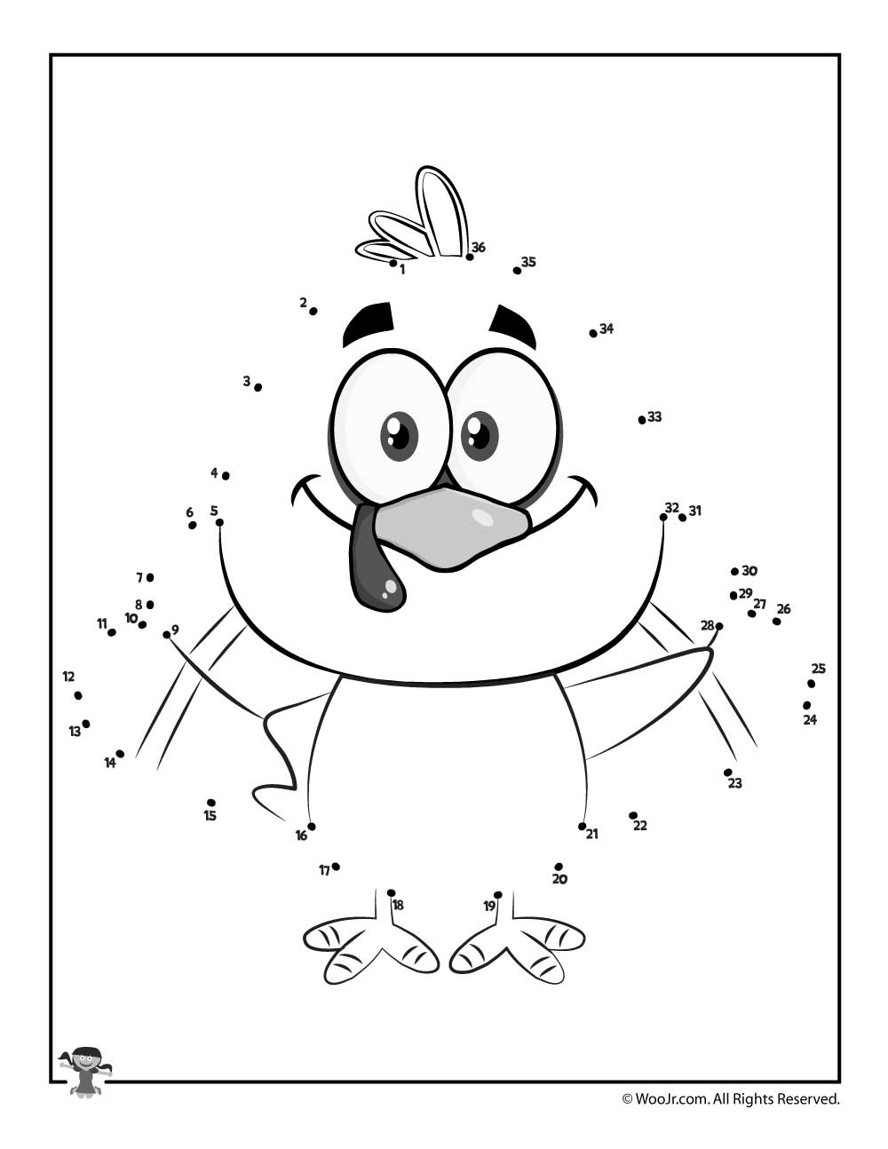 turkey dot to dot printable activity woo jr kids activities - Kids Activities Print
