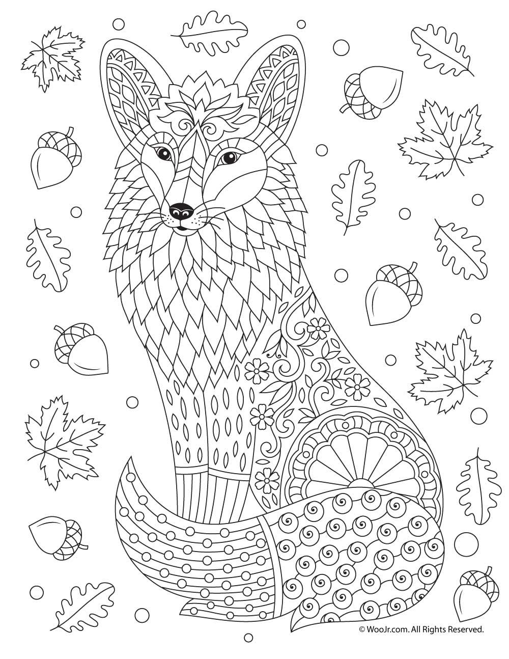 Fox Adult Coloring Page | Woo! Jr. Kids Activities