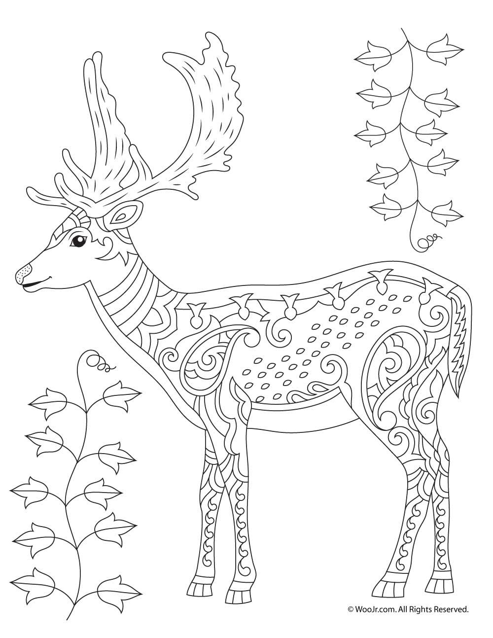 Deer Adult Coloring Page | Woo! Jr. Kids Activities