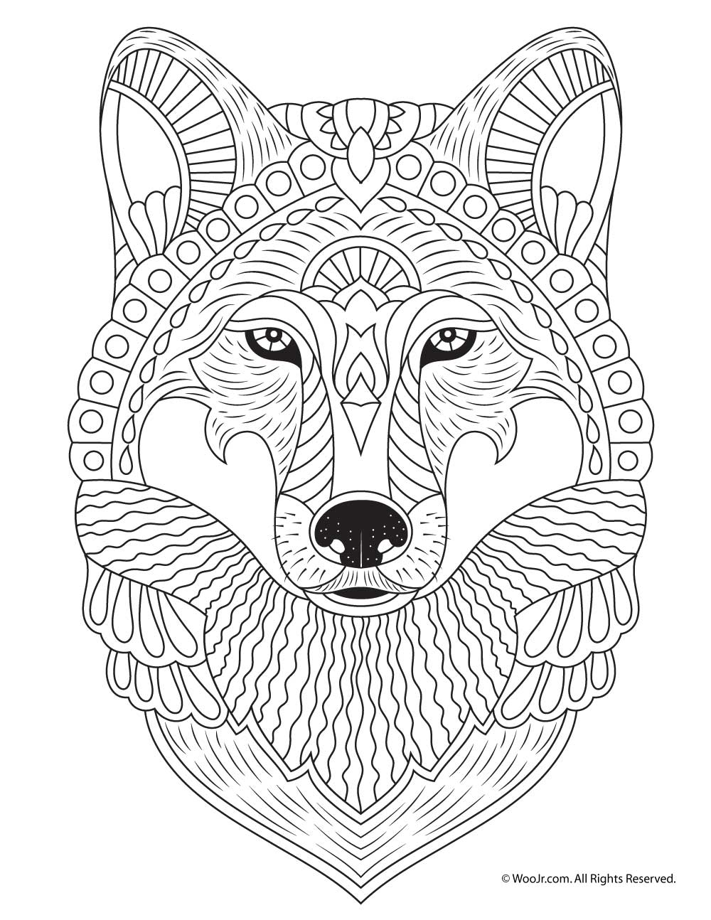 wolf adult coloring page woo jr kids activities. Black Bedroom Furniture Sets. Home Design Ideas