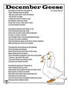 December Geese Kids Poetry
