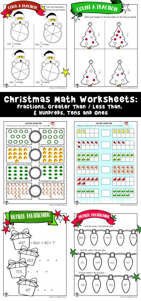 Christmas Math Worksheets: Fractions, Greater Than / Less Than, & Hundreds, Tens and Ones