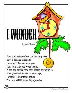 I Wonder Poem About December for Kids