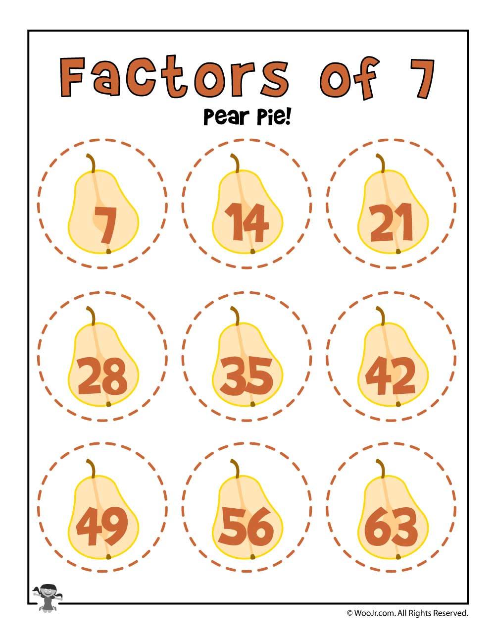 Pear Pie Factors Of 7 Woo Jr Kids Activities