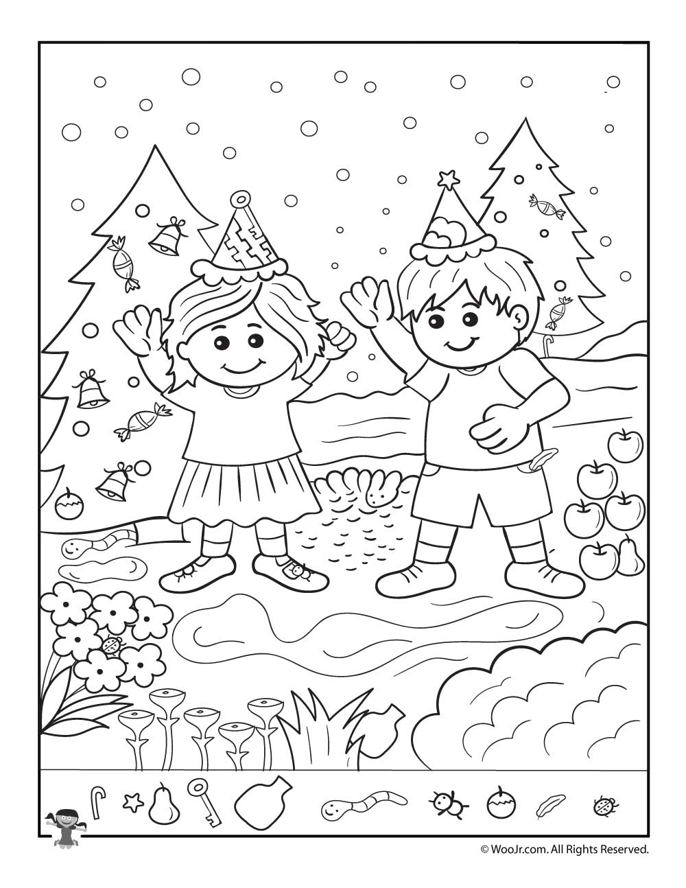 the kids at christmas hidden picture page woo jr kids activities