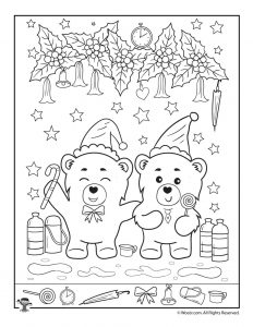 bear y fun christmas i spy page - Hidden Pictures For Kids