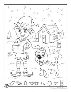 santas helpers christmas hidden picture page - Hidden Pictures For Kids