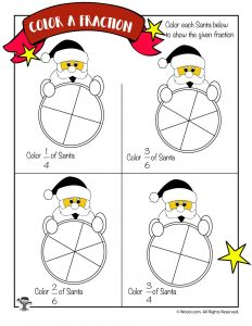 Color the Fraction Worksheet with Santa Claus