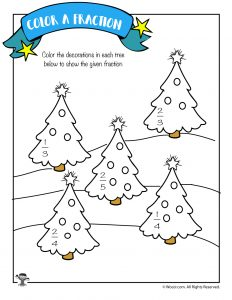 Color the Fraction Worksheet with Christmas Trees