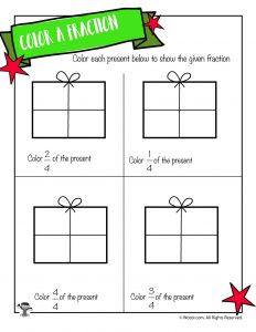 Color the Fraction Worksheet with Christmas Presents