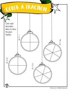 Color the Fraction Worksheet with Christmas Ornaments