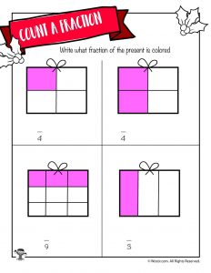 Deduce the Fraction Worksheet with Christmas Presents