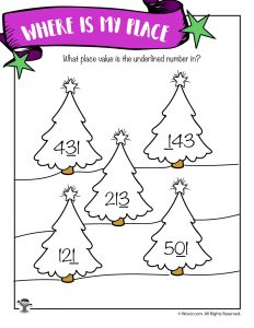 Christmas Trees Hundreds Tens and Ones Identification Worksheet