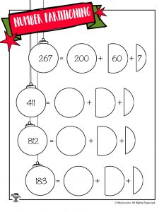 Christmas Ornament Place Value Breakdown Worksheet