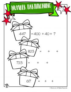 Christmas Present Place Value Breakdown Worksheet