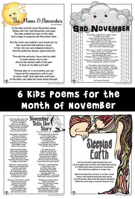 6 Kids Poems for the Month of November