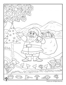 Santa Claus Christmas Hidden Picture Printable Page