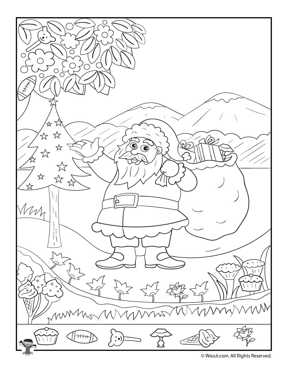 santa claus christmas hidden picture printable page - Hidden Pictures For Kids