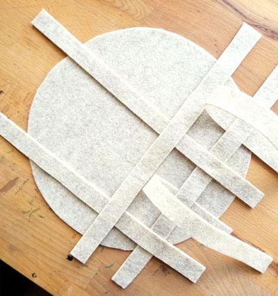 Weaving felt to make the lattice pie top