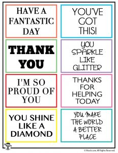 image about Kindness Cards Printable called Random Act of Kindness Printable Notes Woo! Jr. Little ones