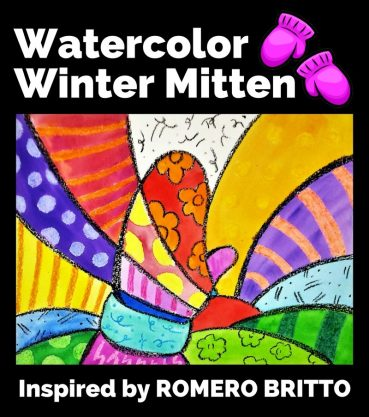 Watercolor Winter Mitten: Inspired By Romero Britto