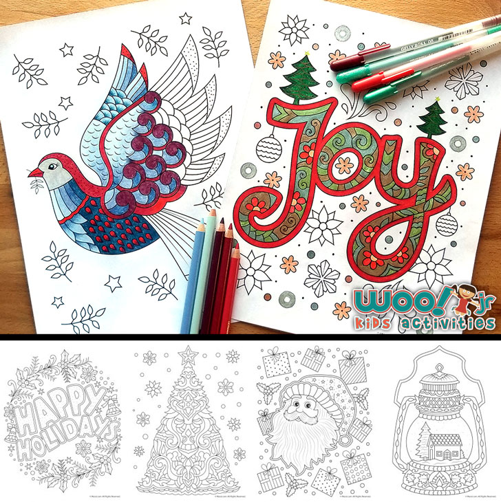 12 Free Christmas Adult Coloring Pages