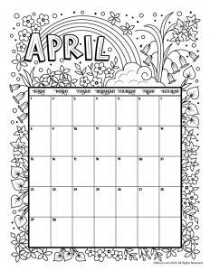 April 2018 Coloring Calendar Page