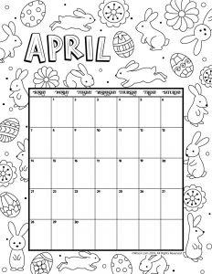 april 2019 coloring calendar