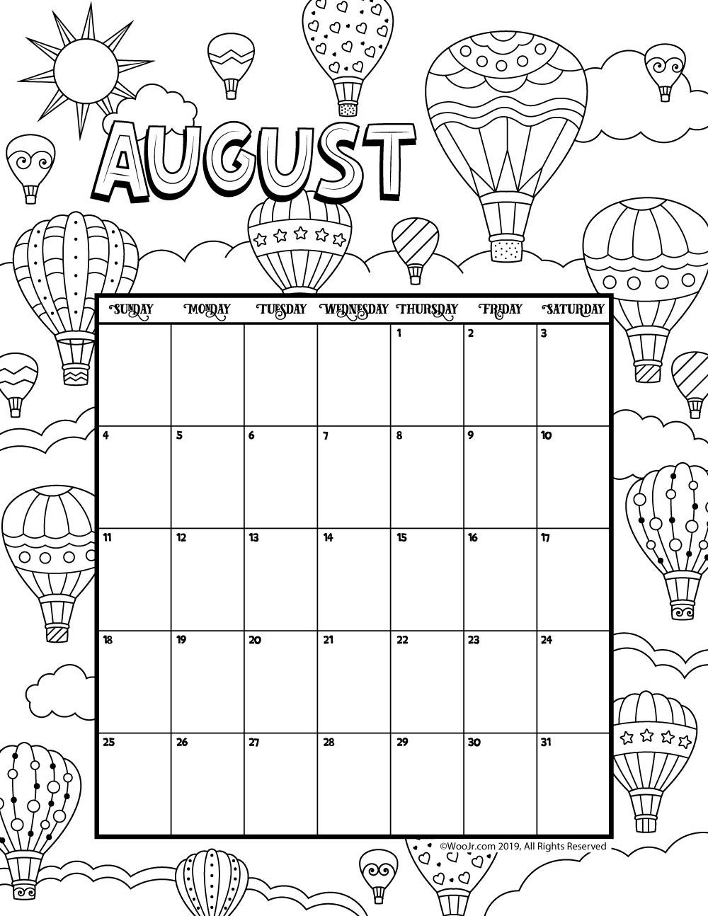 August 2019 Calendar.August 2019 Coloring Calendar Woo Jr Kids Activities