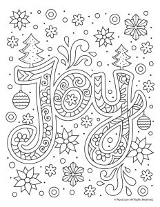 Christmas Joy Typography Coloring Page