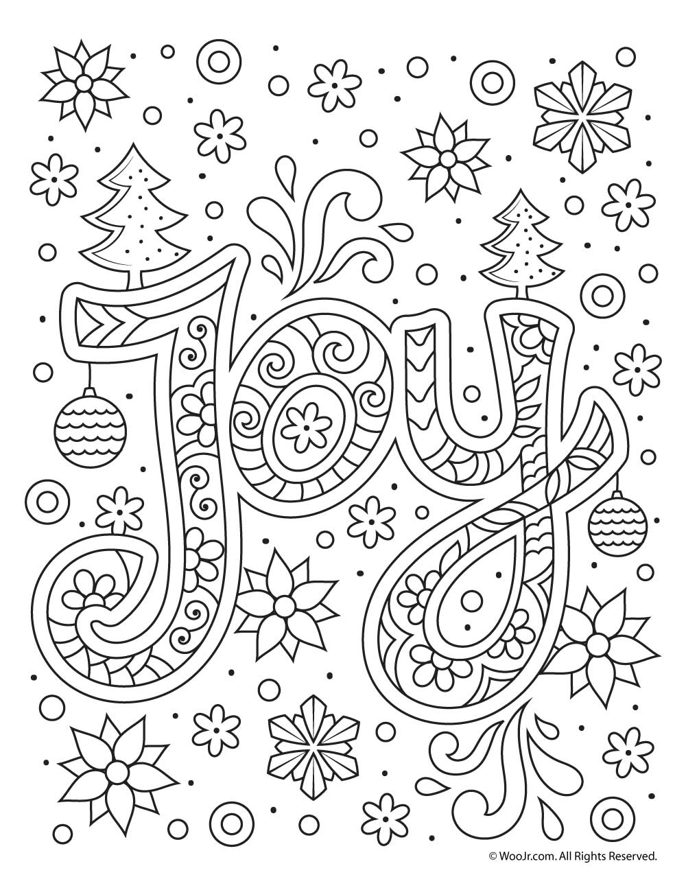 Christmas Joy Typography Coloring Page | Woo! Jr. Kids ...